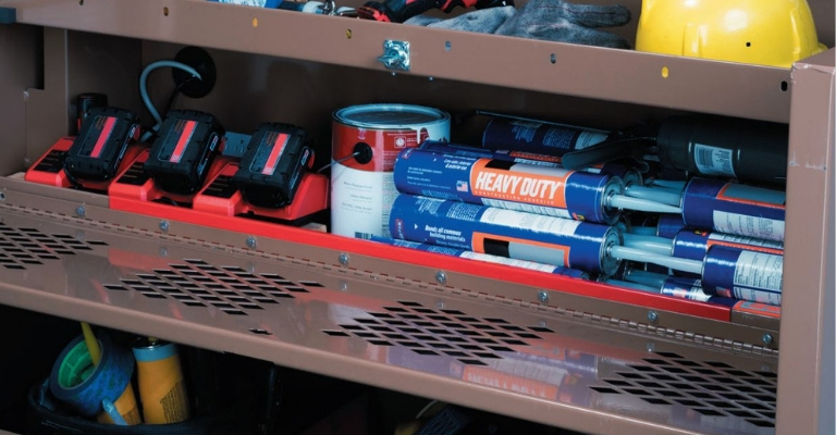 KNAACK ThermoSteel Heated Storage protects materials on the jobsite